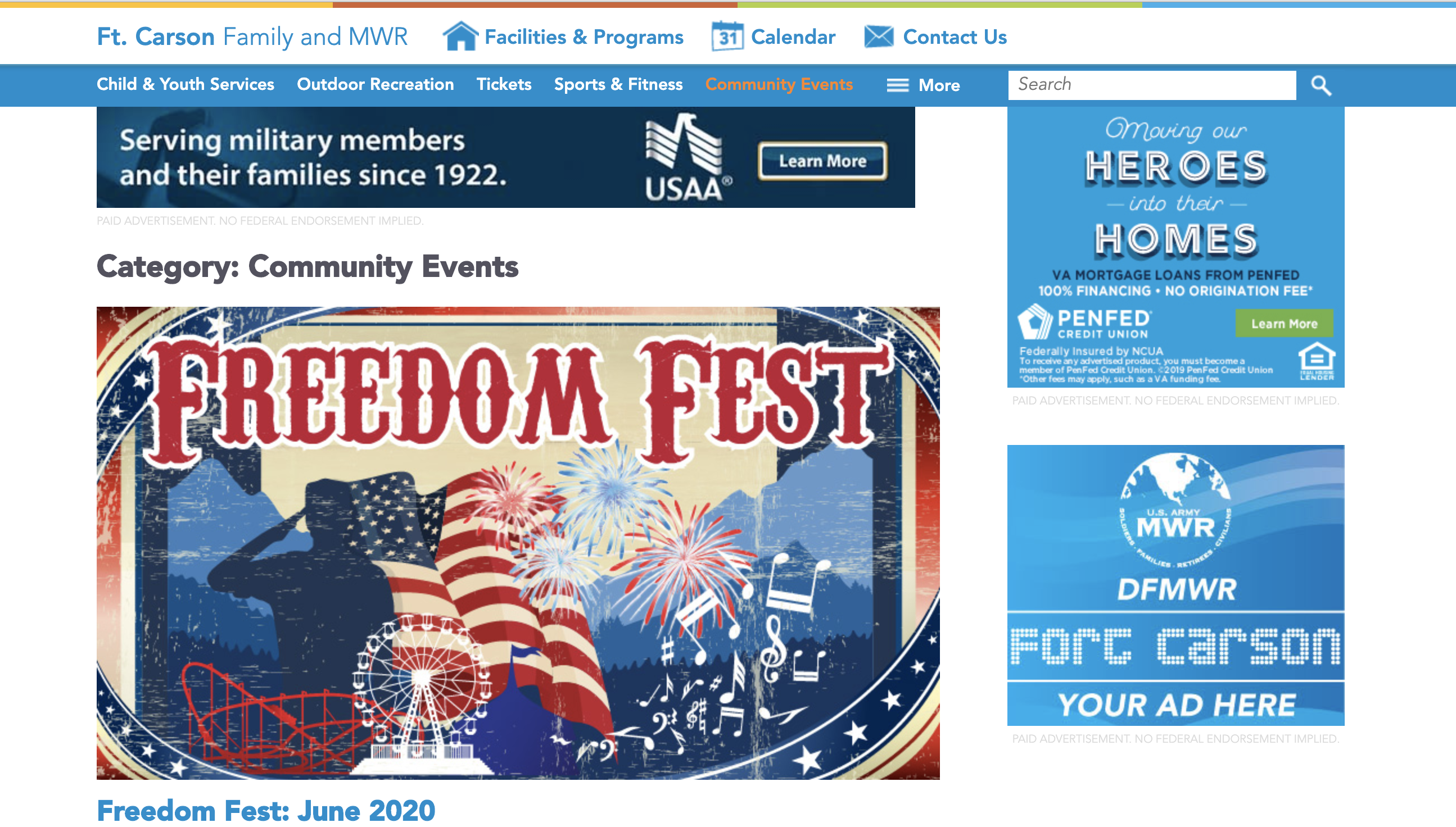 Fort Carson Military Events link