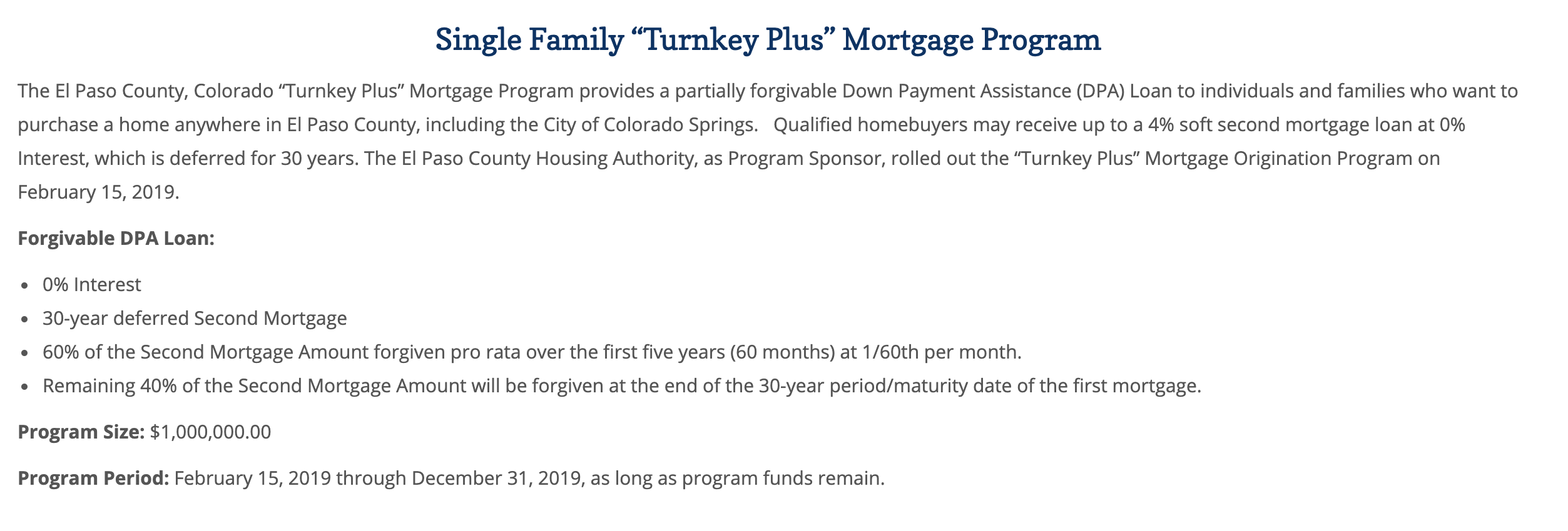 El Paso County Turnkey Mortgage Program